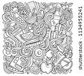 cartoon vector doodles diet... | Shutterstock .eps vector #1134955241