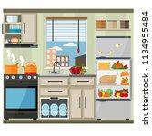 bright kitchen with window ... | Shutterstock .eps vector #1134955484