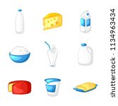 milk and dairy products. set of ... | Shutterstock .eps vector #1134963434