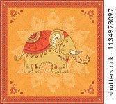 indian elephant ornamental... | Shutterstock .eps vector #1134973097