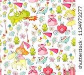 princess vector patterns. cute... | Shutterstock .eps vector #1134973277