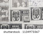 antique spanish stamps with...   Shutterstock . vector #1134973367