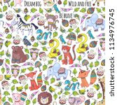 pattern with cute forest and... | Shutterstock .eps vector #1134976745