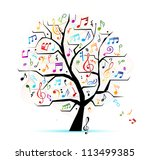abstract musical tree for your... | Shutterstock .eps vector #113499385