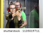 shooting range. shooting with a ... | Shutterstock . vector #1135019711