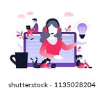 concept customer and operator ... | Shutterstock .eps vector #1135028204