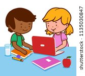 students doing homework using a ...   Shutterstock . vector #1135030847