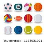 realistic sport balls set... | Shutterstock .eps vector #1135031021
