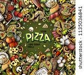 cartoon vector doodles pizza... | Shutterstock .eps vector #1135036841