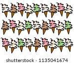 variety of ice cream cone... | Shutterstock . vector #1135041674