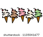 variety of ice cream cone... | Shutterstock . vector #1135041677