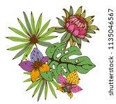 bouquet. tropical flowers  palm ... | Shutterstock .eps vector #1135046567