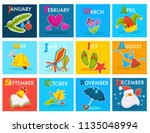 vector calendar with cartoon... | Shutterstock .eps vector #1135048994