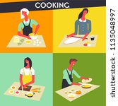 people cooking at kitchen... | Shutterstock .eps vector #1135048997