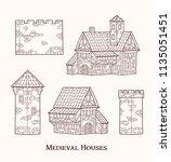 medieval ancient buildings set... | Shutterstock .eps vector #1135051451