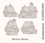 medieval ancient buildings set... | Shutterstock .eps vector #1135051454