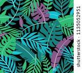 tropical vector green leaves... | Shutterstock .eps vector #1135052951