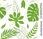 tropical vector green leaves... | Shutterstock .eps vector #1135052954