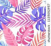 tropical vector green leaves... | Shutterstock .eps vector #1135052957