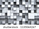 abstract white cubes background.... | Shutterstock . vector #1135064267