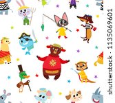 seamless pattern with cute... | Shutterstock .eps vector #1135069601