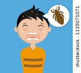 boy with head lice | Shutterstock .eps vector #1135071071
