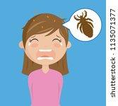 girl with head lice | Shutterstock .eps vector #1135071377