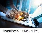 digital marketing media ... | Shutterstock . vector #1135071491