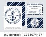 nautical wedding invitation... | Shutterstock .eps vector #1135074437