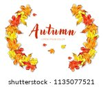 frame with watercolor autumn...   Shutterstock . vector #1135077521