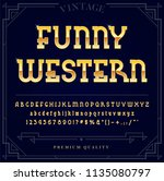 gold metallic font set. letters ... | Shutterstock .eps vector #1135080797