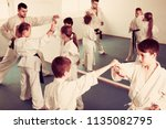 glad children sparring in pairs ... | Shutterstock . vector #1135082795