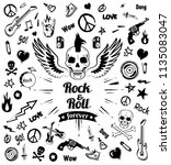 rock n roll forever skull with... | Shutterstock .eps vector #1135083047