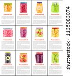 preserved fruit and vegetables...   Shutterstock .eps vector #1135083074