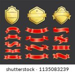 gold coats of arms with ribbons ... | Shutterstock .eps vector #1135083239