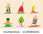 cute fruit and vegetables doing ... | Shutterstock .eps vector #1135083641