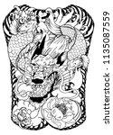 japanese tattoo design full... | Shutterstock .eps vector #1135087559
