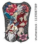 japanese tattoo design full... | Shutterstock .eps vector #1135087589