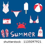 cute summer set with vector... | Shutterstock .eps vector #1135097921
