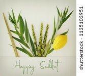 jewish festival of sukkot....   Shutterstock . vector #1135103951