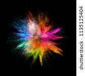 colored powder explosion on... | Shutterstock . vector #1135125404