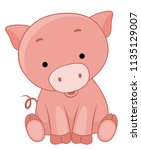 Illustration Of A Cute Pig...