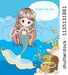 the mermaid treasure under the... | Shutterstock .eps vector #1135131881