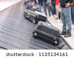 suitcase or luggage with... | Shutterstock . vector #1135134161