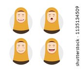 yellow hijab hijaber avatar... | Shutterstock .eps vector #1135134509