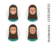 brown skin hijab hijaber wears... | Shutterstock .eps vector #1135134515