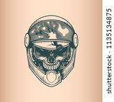 vintage racer skull  monochrome ... | Shutterstock .eps vector #1135134875