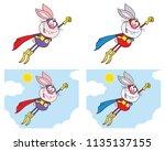 rabbit super hero cartoon... | Shutterstock .eps vector #1135137155
