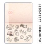 realistic open foreign passport ... | Shutterstock .eps vector #1135140854