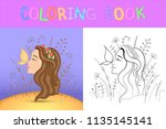 children's coloring book with... | Shutterstock .eps vector #1135145141